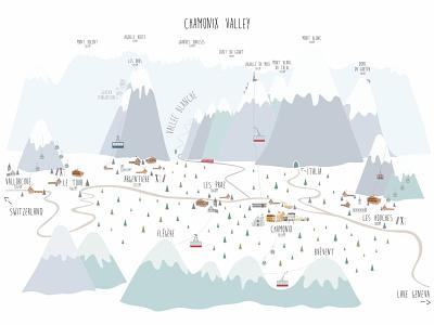 Chamonix Valley dreamy map mountains snowboard gondola dreamy villages resorts winter sports ski cabins chalets flat design building art concept vector illustration