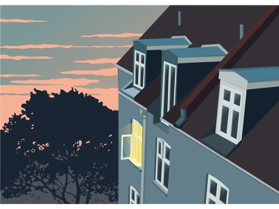 sunset at home sunset roof architecture house window building dreamy concept vector art illustration flat