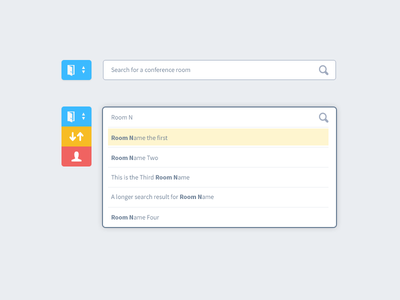 Type Ahead Search (Interior) ui interface form app search dropdown incremental real time result type ahead typeahead form states