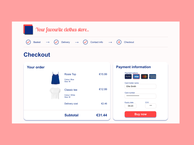 #dailyui #002 checkout page