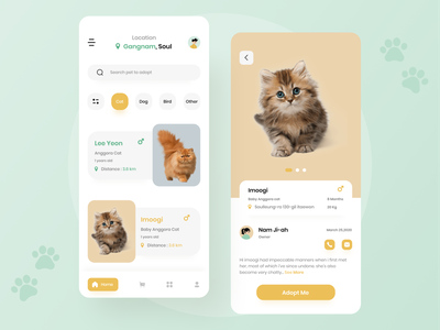 Pet Adoption App app pet rescue pets uiux uidesign pet store pet adoption pet care petshop pet app pet mobile app design mobile design mobile app mobile ui mobile cat design cat animal adoption
