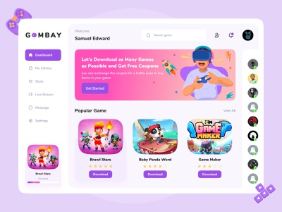 G 🎮 M B A Y - Dashboard Game Store download dashboard game dashboard design gaming store dashboard store gaming game store game mobile design uidesign mobile uiuxdesign ui design uiux