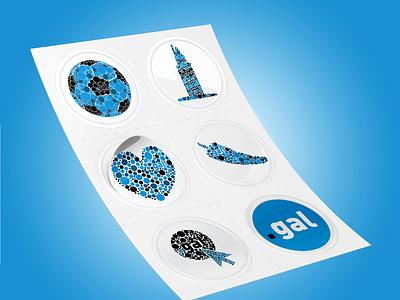 Stickers Puntogal pepper heart internet football tower hercules dots stickers illustrator puntogal vector galicia illustration design