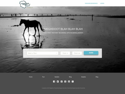 Meghdoot Home Page tourism typography ui character company branding design