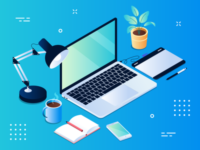 Isometric desk vector design isometric desk illustrator illustration