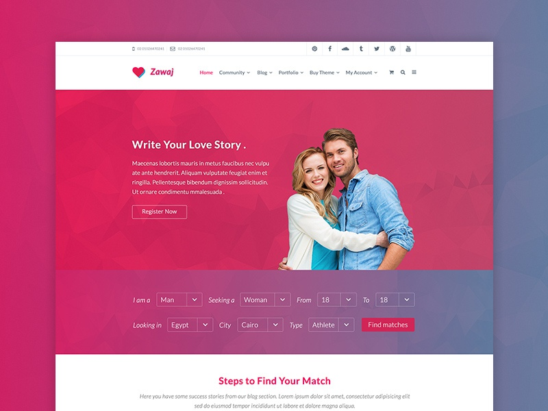 Zawaj - Dating PSD Template by Mohamed Said on Dribbble