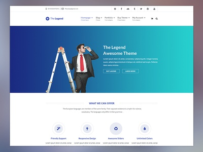 The Legend - Multi-Purpose PSD Template business clean corporate creative ecommerce flat medical minimal modern onepage online store portfolio