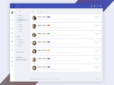 Infinity - Web Application Kit - Inbox page