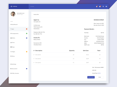 Infinity - Web Application Kit - invoice page