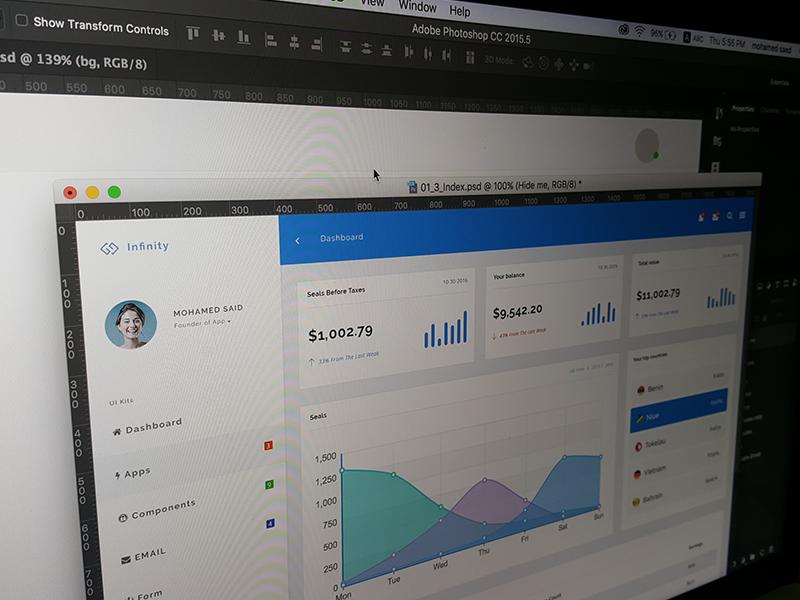 Infinity - Responsive Web App Kit #3 web visualization ui panel kit dashboard crm charts bootstrap application app admin
