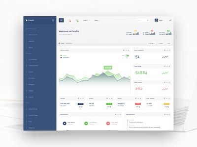 PlayKit - Responsive Web App Kit #1 web app visualization ui panel kit dashboard crm charts bootstrap application app admin