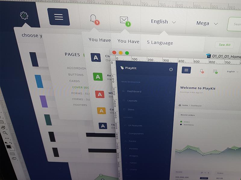 PlayKit - Responsive Web App Kit #4 web visualization ui panel kit dashboard crm charts bootstrap application app admin