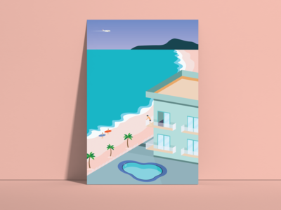 Beach day illustration beach house coast summer sunny plane balcony sand palmtree surf spain valencia swim pool minimalist modern apartment beach