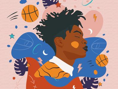 Bball dream star champion young black minimalist colorful tshirt nba sport basketball boy illustrator illustration dream