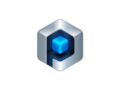 'P' for Platform logo platform logo blue icon p cube metal illustrator