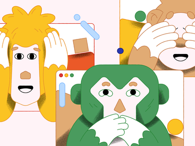 Turning a blind eye web monkey vector texture character editorial illustration