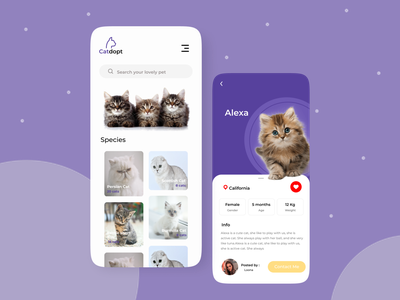 Pet Adoption pet care cats mobile design mobile illustrator uidesign petshop pets pet cat animal adoption adopt soft clean uiux app ux ui design