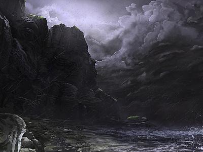 Stormy Coast rain beach environment landscape cliff coast storm
