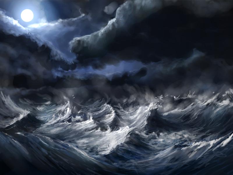 Stormy Sea storm sea waves moon clouds ocean