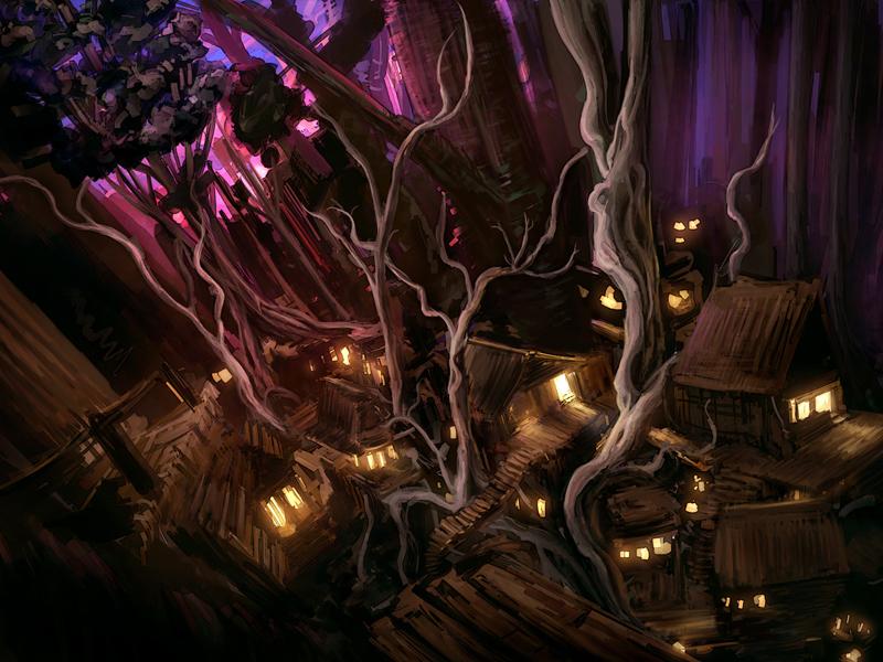 Silver Tree Village village forest pink purple treehouse trees