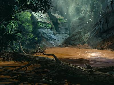 Muddy Lake jungle murky orange mountain lake