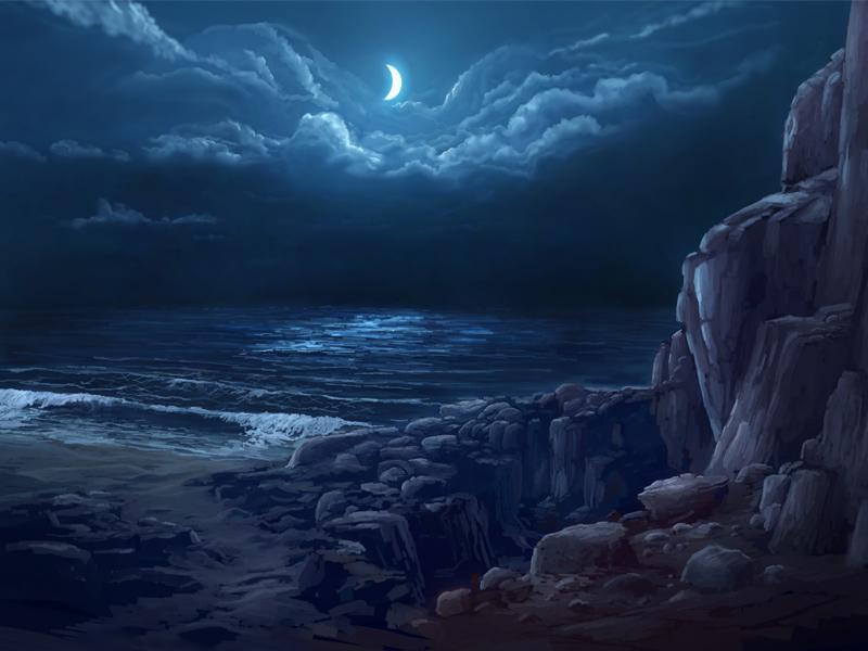 Night Coast night coast sea ocean moon shore rocks water waves clouds landscape environment