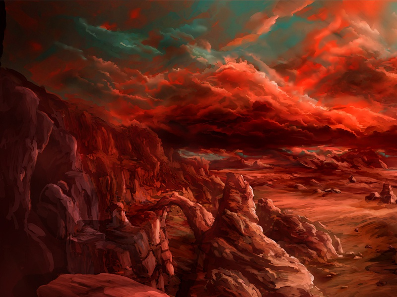 Wasteland wasteland rocks mountains clouds environment landscape