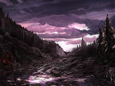 After the Rain sky rockscape pinetrees purple pink clouds rocks environment landscape