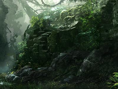 Jungle Rock environment landscape tropical rainforest green rock jungle