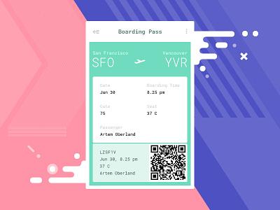 ✈ Boarding 🎫 Pass interface flight ticket pass boarding