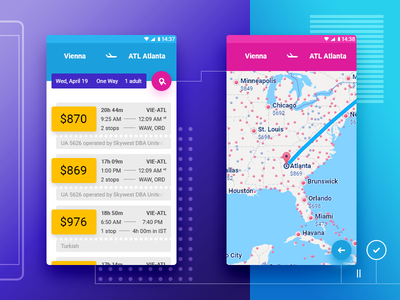 Flights ✈ dailyui tickets 📍 destinations map screen mobile ui user interface