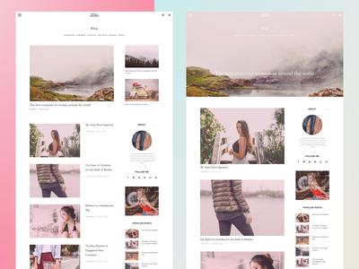 Two Variants of Blog Page minimalism interface web blog modular grid layout