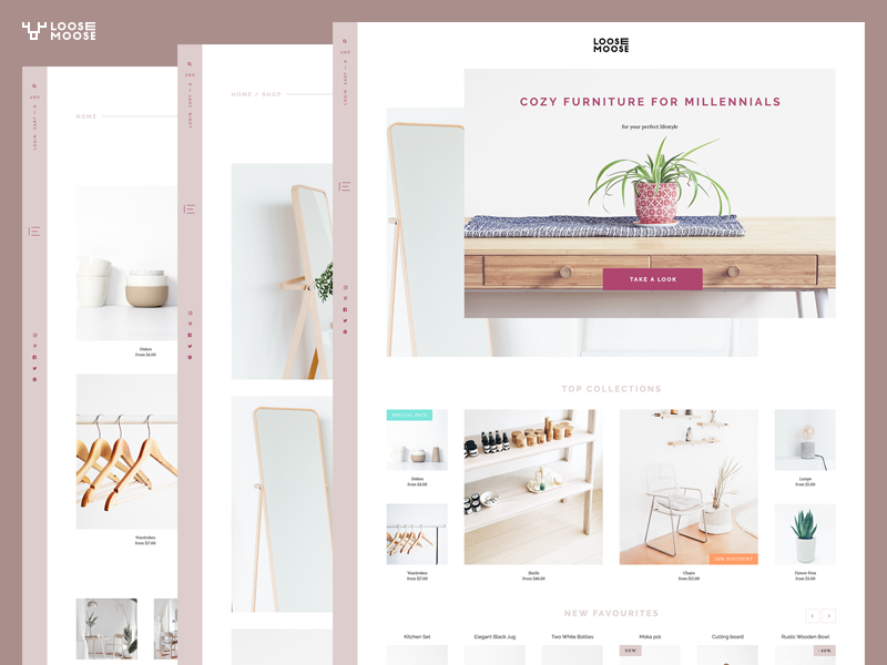PSD Template Story desktop clean blog e-commerce product theme psd asymmetrical minimalist shopify wordpress design website web interface ui