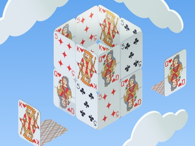 isometry design illustration sky cards vector illustration vectorart vector house of cards