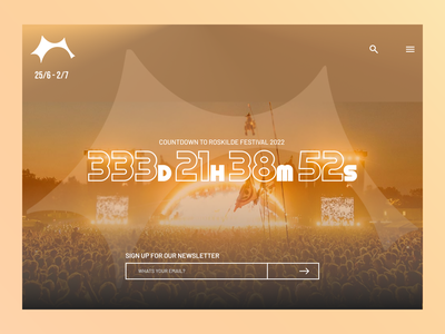 Daily UI Day 014: Countdown Timer roskilde music concert graphic design branding timer countdowntimer typography vector ux design dailyui ui