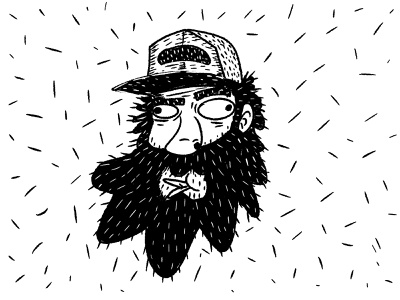 Bearded man in a cap. character quirky doodle illustration cartoon face male man black bearded beard