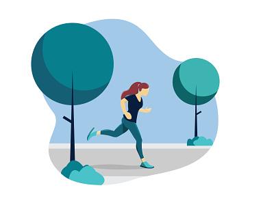 Flat Illustration (Girl Running in Park) running in park park running graphic design design ui adobe illustrator girl illustration illustration flat illustration running illustration
