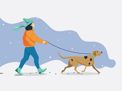 Flat Illustration (Girl walking dog) adobe suite snow dog illustration girl walking dog flat illustration adobe illustrator illustration girl illustration design