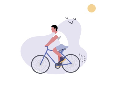 Person on a bike illustration ui adobeillustrator cycle bike flat illustration illustration design