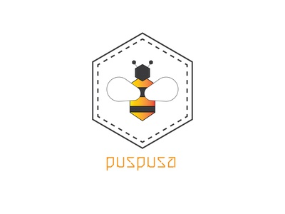 Logo PUSPUSA bee logo bee minimalist logo minimalistic minimalist honey logo honey bee honeybee honey logo honey logodesign vector minimal logos logo designer logo logo design illustrator design branding