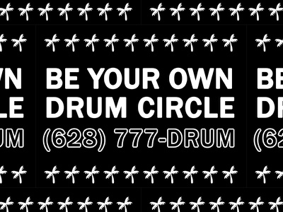 Dail (628) 777-DRUM palm tree be your own drum circle slap tag stickers