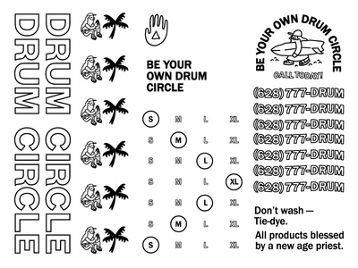 Drum Pasteboard 021817 tie dye new age priest surfing surf cult yoga be your own drum circle slap tag stickers
