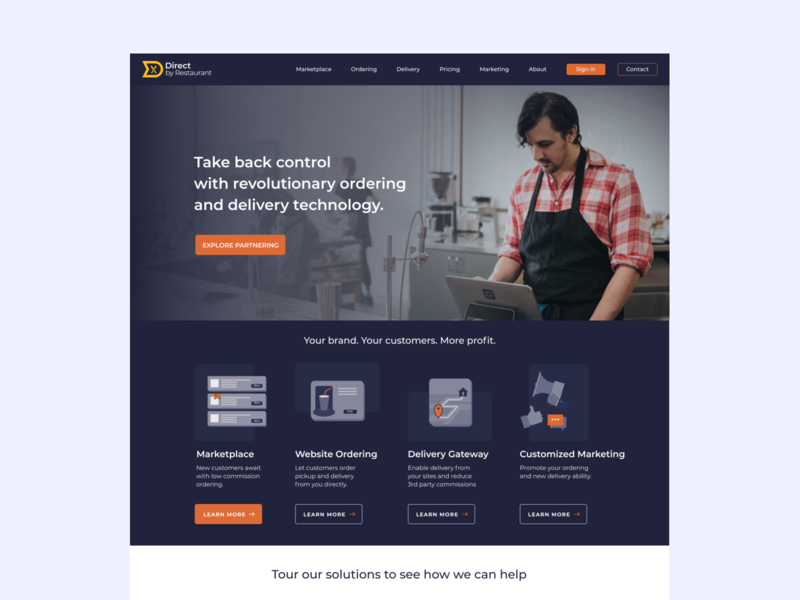 DBR - Landing Page layout visualdesign delivery food pos icons illustraion landingpage uidesign app website dribble branding ux clean minimal design ui