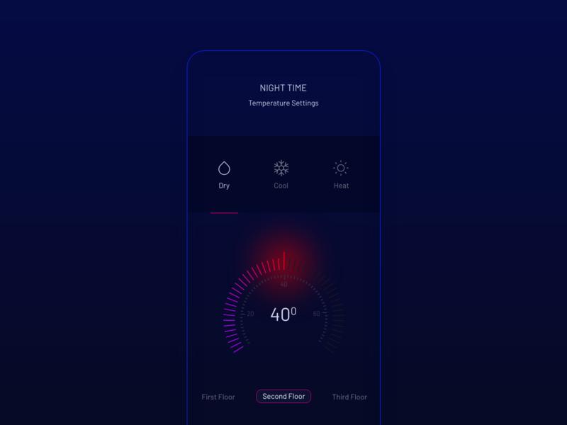 Temperature Tracker UI dark typography visualdesign uiux xd figma android ios tracker temperature uidesign app website dribble branding clean ux minimal design ui