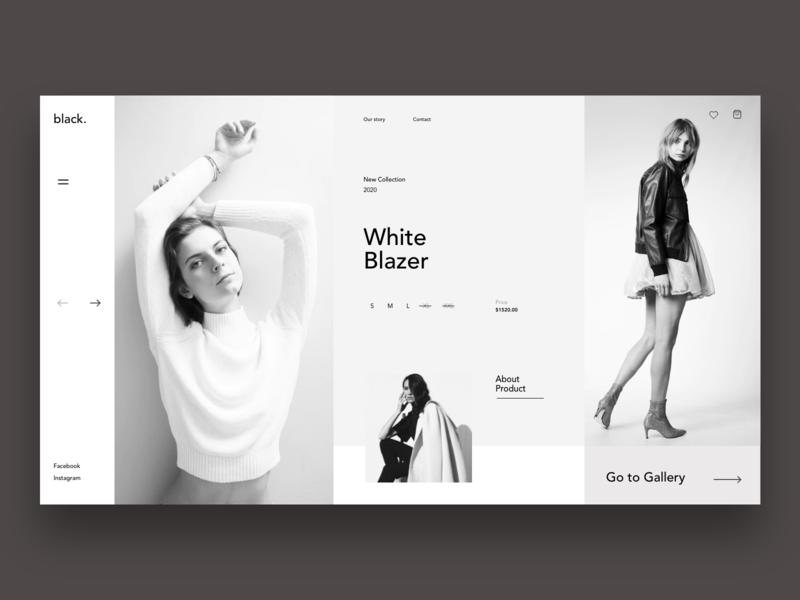 Black - Fashion Brand Landing page shop website design landingpage wow simple monochrome black fashion xd figma uidesign app website dribble branding clean ux minimal design ui