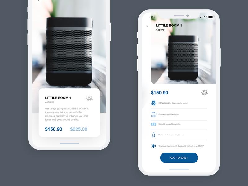 Daily UI #3 app concept dribbleers uidesigner appdesign onlineshop shop app cart bluetooth speaker shop app ecommerce icon ux branding vector ui design minimal