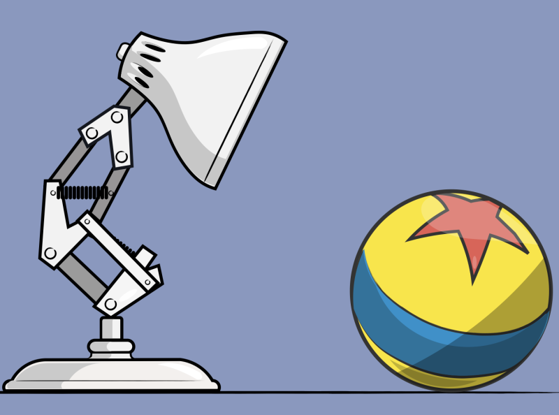 Pixar Luxo Lamp Ball minimal icon branding logo design illustration