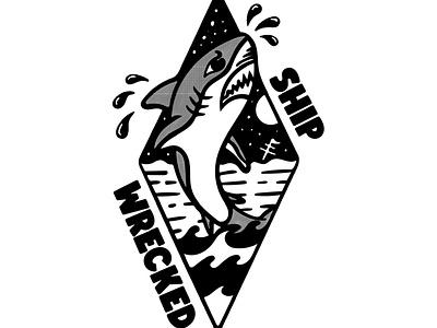 Ship Wrecked flat typogaphy tshirtdesign tshirt vector logo illustration design