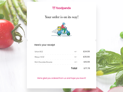 Email Receipt - Daily UI #017 delivery food foodpanda dailyui receipt email