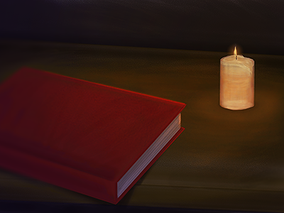 Illuminated Book candle book desk